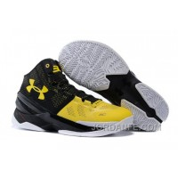 """Under Armour Curry 2 """"Long Shot"""" Black/Taxi-White Shoes For Sale Top"""