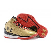 Under Armour UA Curry One Gold Black Red Shoes For Sale New Release