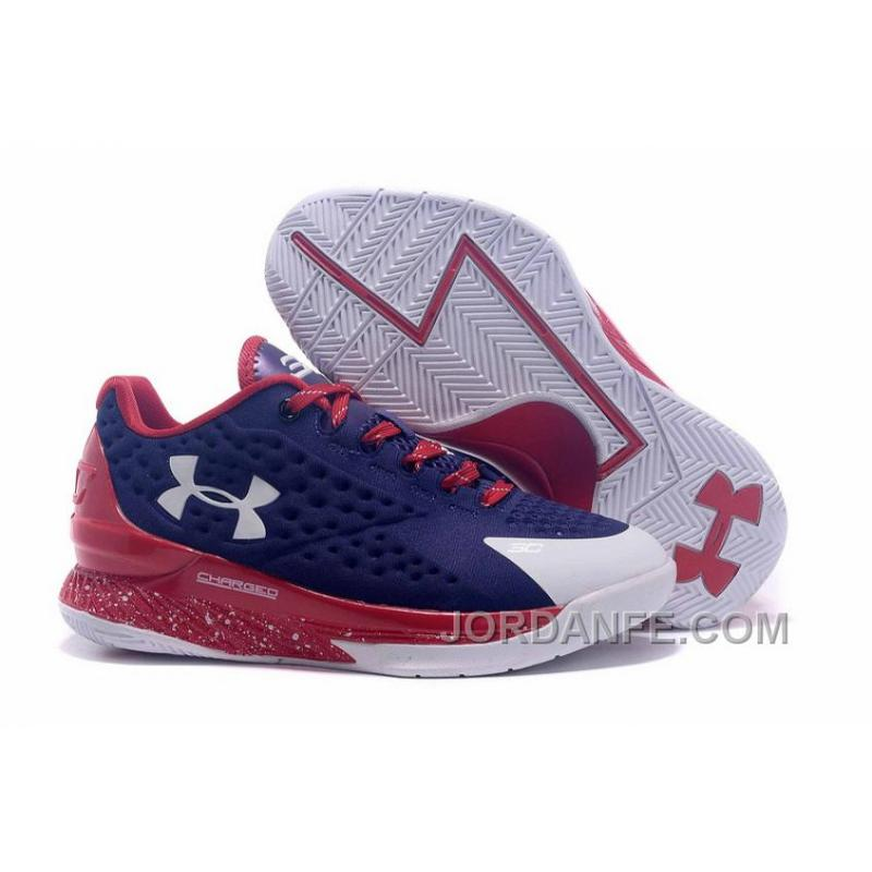 ab1c78b9afa7 Under Armour Curry One Low Kids Shoes Dark Blue Red White Sneaker Discount