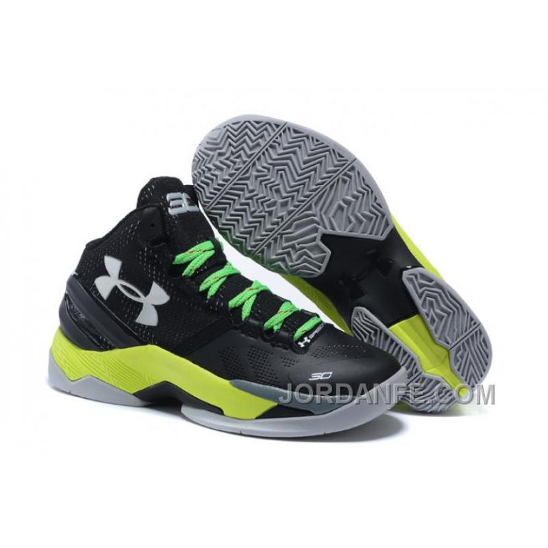 Under Armour Curry 2 Kid Shoe Black Green Sneaker Top Deals ... 84f71a868