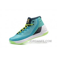 Hotsale Under Armour Curry Three Blue Green New Mens Shoes Lastest