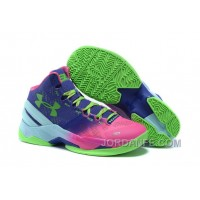 Under Armour GS Curry 2 Women Pink Blue Green Sneaker Authentic
