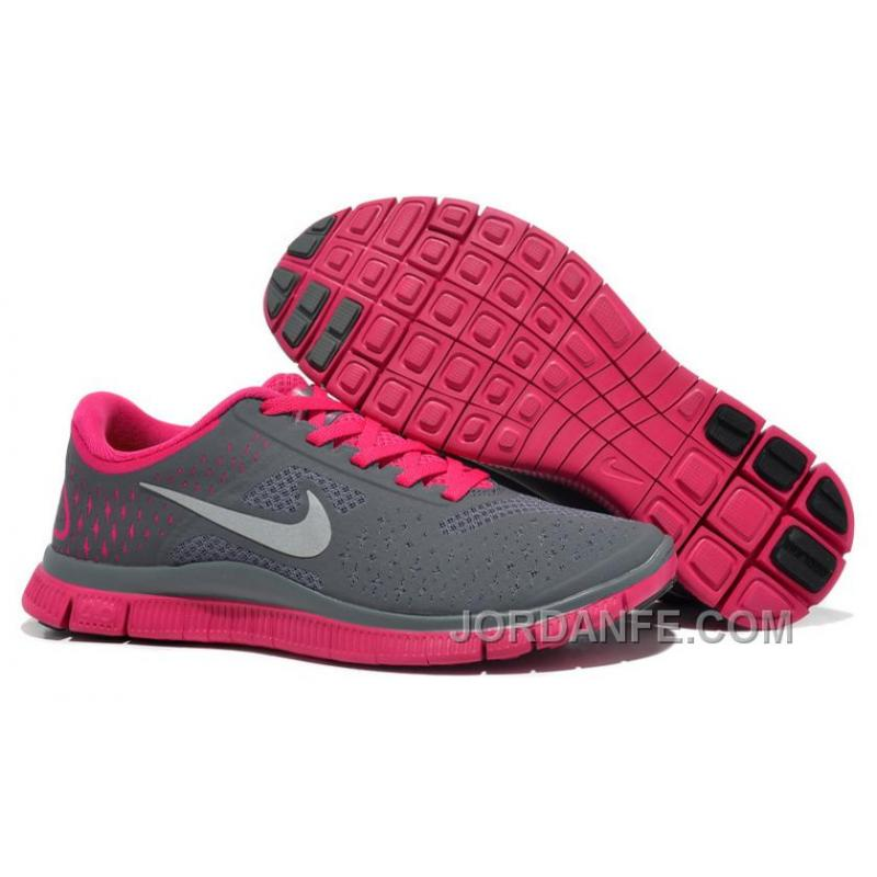 7a55606a265b0 Women Nike Free 4.0 V2 Running Shoes Grey Pink Cheap To Buy