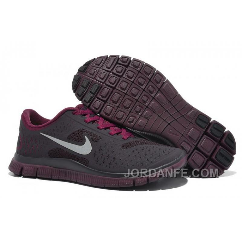 143de51798799 Womens Nike Free 4.0 V2 Running Shoes Dark Grey Purple Red Discount ...