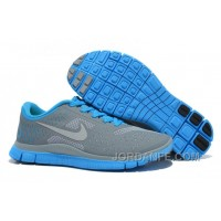 Womens Nike Free 4.0 V2 Running Shoes Grey Blue Authentic