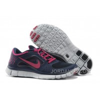 Women Nike Free 5.0 V4 Running Shoes Dark Blue Purple Red For Sale
