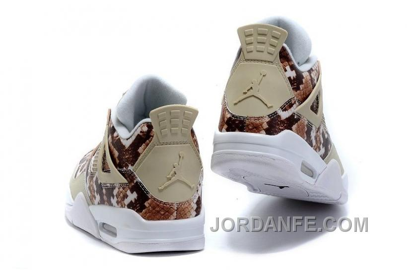 "e29d164bfbeb 2016 Air Jordans 4 ""Snakeskin"" White Grey Brown For Sale New Release ..."