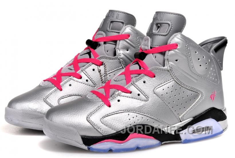 "a15cbbcf9204 Air Jordans 6 Retro ""Valentines Day"" Metallic Silver Vivid Pink-Black For"
