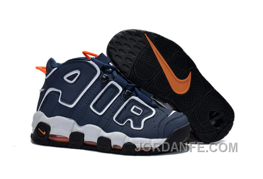 Nike Air More Uptempo GS 2015 Dark Obsidian Orange White For Sale Authentic
