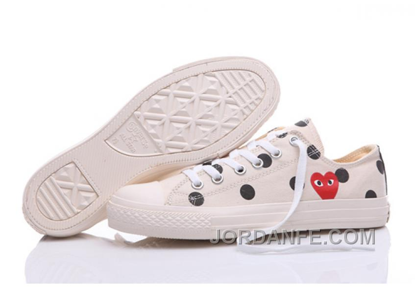 a23d9f2a509 White CONVERSE Comme Des Garcons Polka Dot Play Chuck Taylor Low Free  Shipping