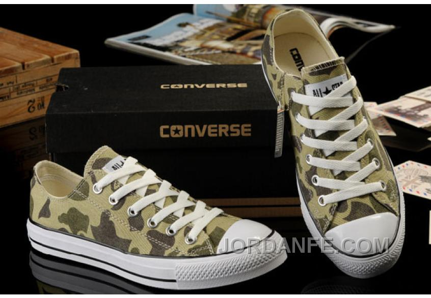 Summer CONVERSE Nicolas Cage Soul Camouflage Army Olive Green All Star Chucks Tops Canvas Sneakers Super Deals