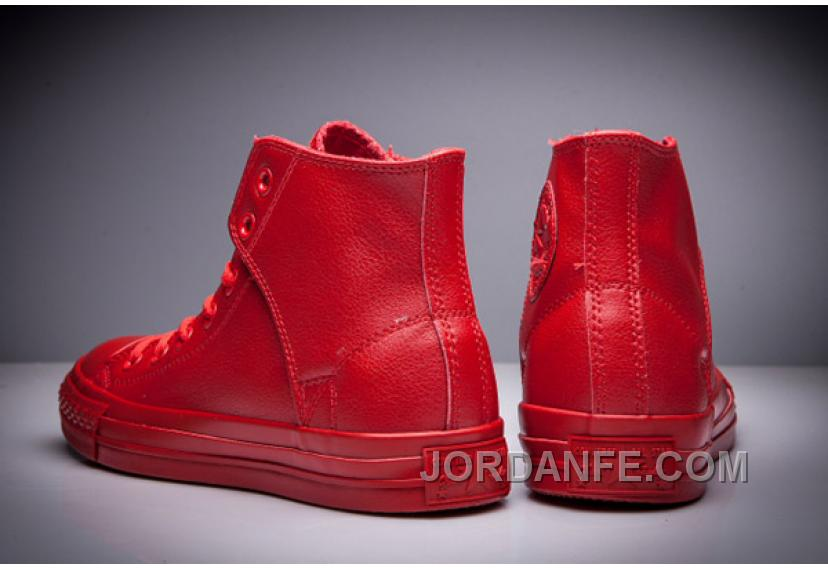 0f802f211b8528 All Red All Star CONVERSE Leather Side Velcro High Tops For Sale ...