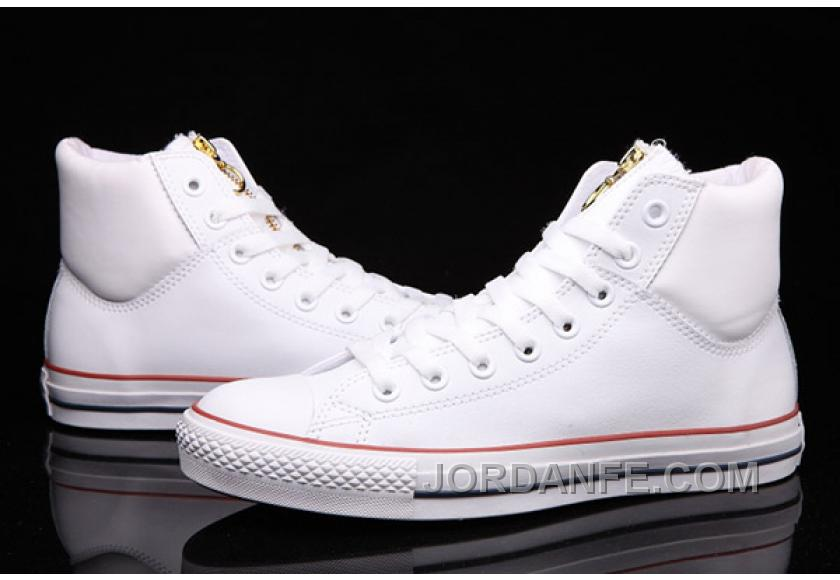c3234fdeee7cd6 White CONVERSE Chuck Taylor Embroidery Padded Collar Leather All Star Online