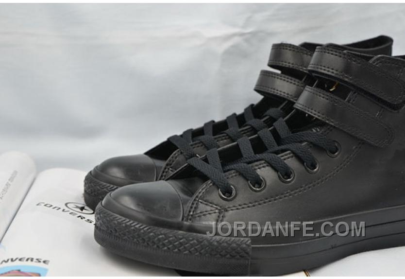 332ce5eeae97 All Star Full Black Leather CONVERSE Double Velcro Chuck Taylor High Shoes  Free Shipping