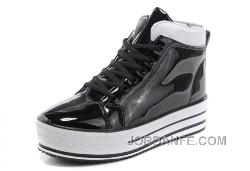 New All Star Platform CONVERSE Shiny Black Leather Shoes Online