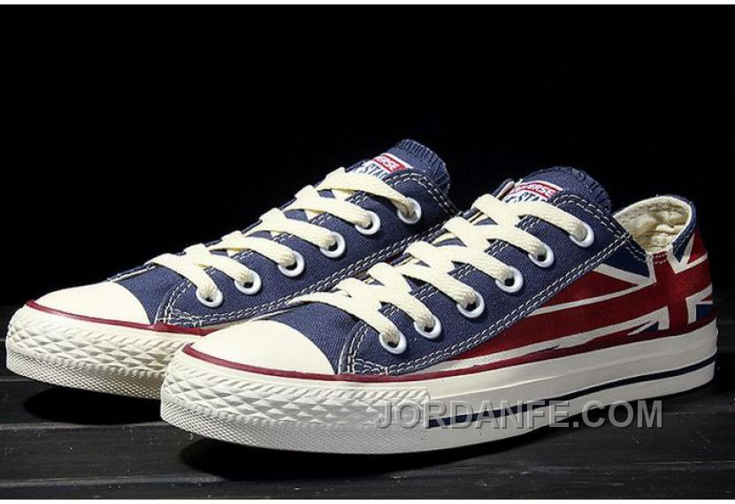 9b91f815d9d9 Red Blue CONVERSE Rock Union Jack British Flag Chuck Taylor All Star Canvas  Sneakers For Sale