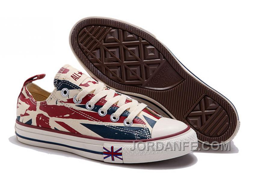 dbe1656b622b Blue CONVERSE British Flag Print All Star Beige Red Canvas London Shoes  Lastest