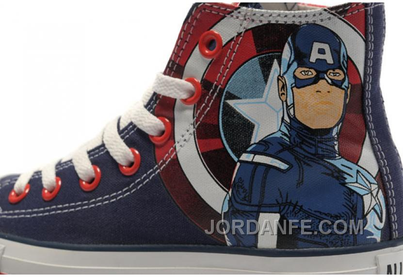 308e15ab1b81 CONVERSE Captain America High Tops The Avengers Edition Blue Red White  Stripes Canvas Shoes Lastest