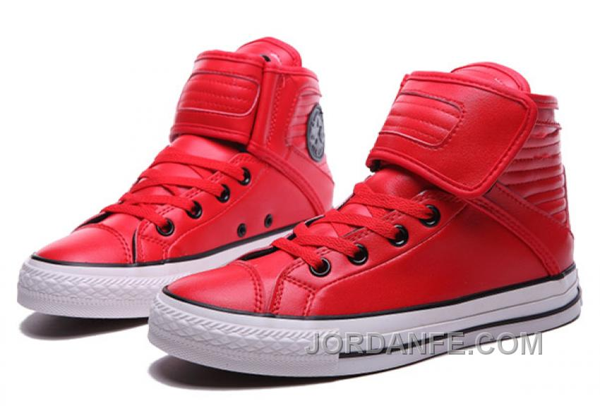 d9df29a36bc6 Red All Star CONVERSE Velcro Leather High Big Tongue Winter Super Deals