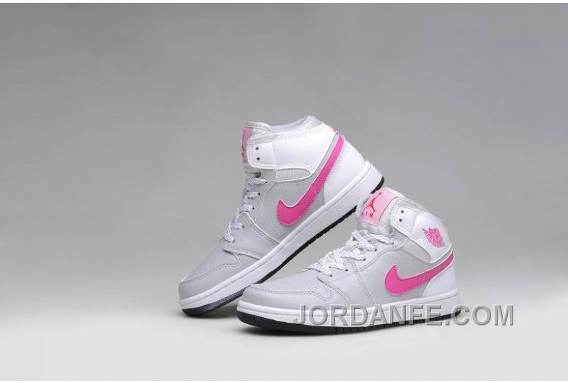 065d5b732c1f86 Girls Air Jordan 1 Grey Pink White Shoes For Sale Authentic