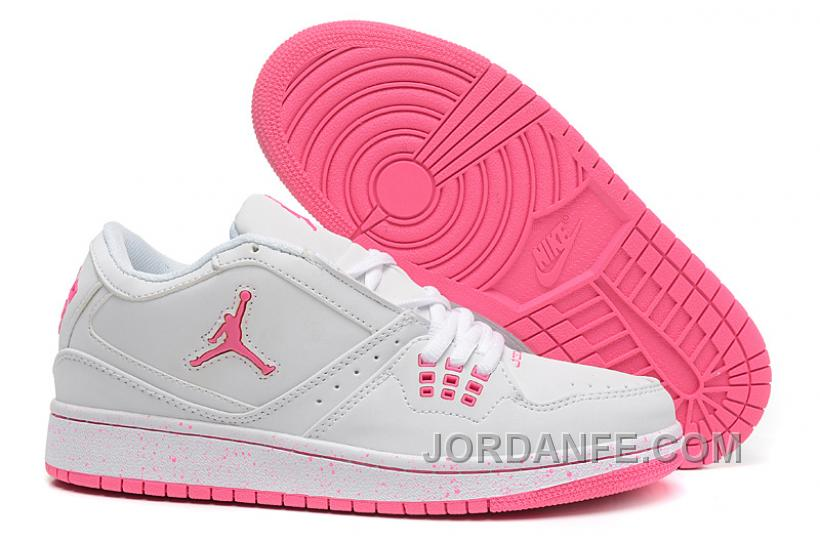 huge discount cee74 c420d Girls Air Jordan 1 Low White Pink Shoes For Sale Hot