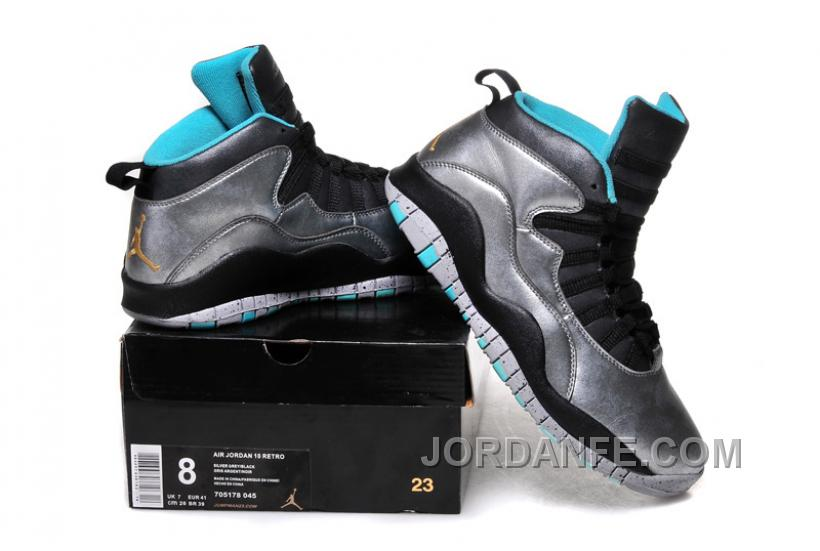 "huge discount f9dcf db0a2 Girls Air Jordan 10 ""Lady Liberty"" Cement Grey Black-Tropical Teal  Remastered"