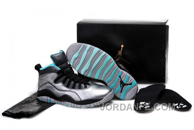 "bcaf92f700a Girls Air Jordan 10 ""Lady Liberty"" Cement Grey/Black-Tropical Teal  Remastered"