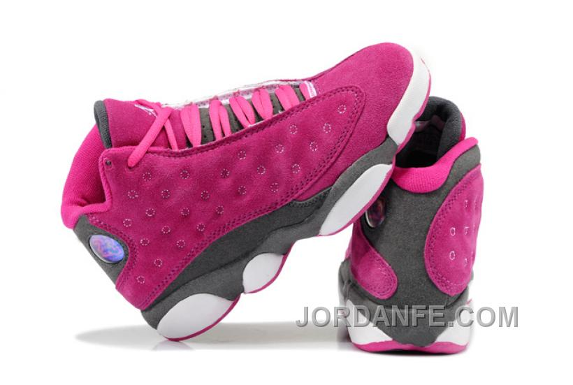 507924ea65b8 Girls Air Jordan 13 Retro Suede Pink Gray For Sale New Release ...