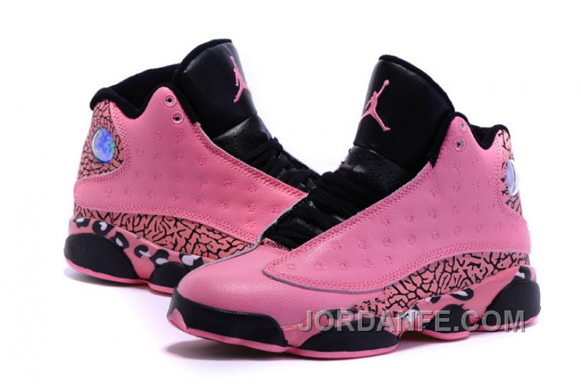 d388b288750e2d 2016 Girls Air Jordan 13 Black Pink Leopard Print Shoes For Sale Top ...