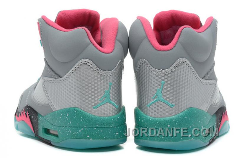 """d894500ef1ad4b Girls Air Jordan 5 """"Miami Vice"""" Grey Teal-Pink For Sale Authentic ..."""