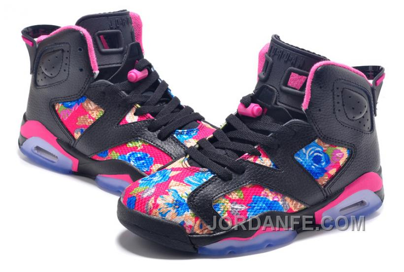 """02148aed0fe9e3 2016 Girls Air Jordan 6 """"Floral Print"""" Black Pink Shoes For Sale New Release"""