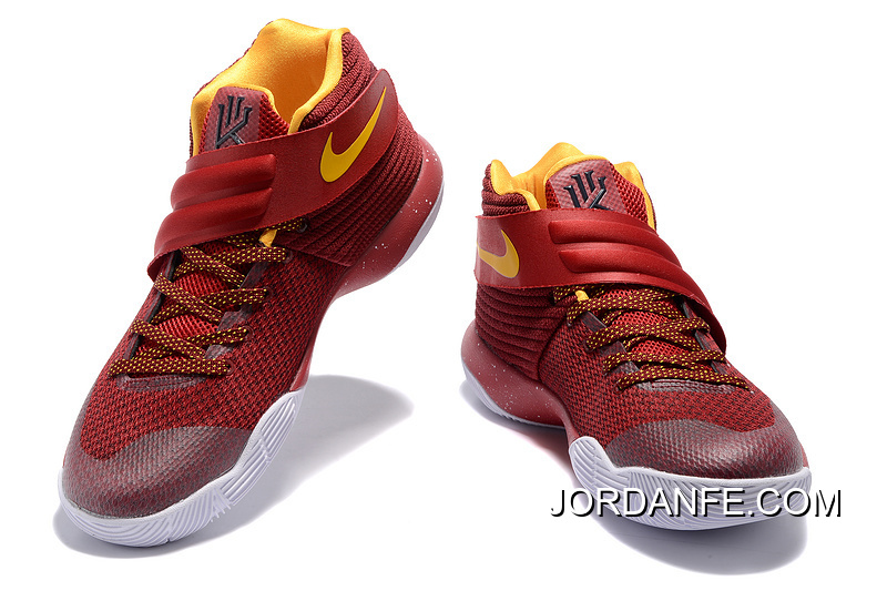 new product 609f0 99370 Discount Girls Nike Kyrie 2 Cav Wine Red Yellow