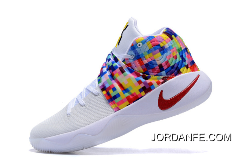 "9f6d6387141c Girls Nike Kyrie 2 ""Effect"" White-Red Multi-Color New Release"