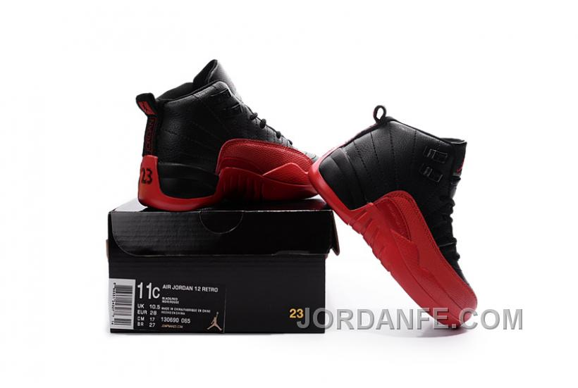 big sale 8b843 7148b Best Price Air Jordan 12 Flu Game Black And White Kids Sneaker Online