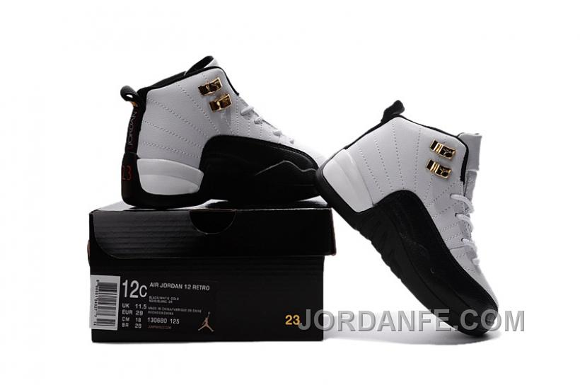 a01c213a5f894 Air Jordan 12 Taxi White And Black Gold Size US11C To US 3Y Free Shipping