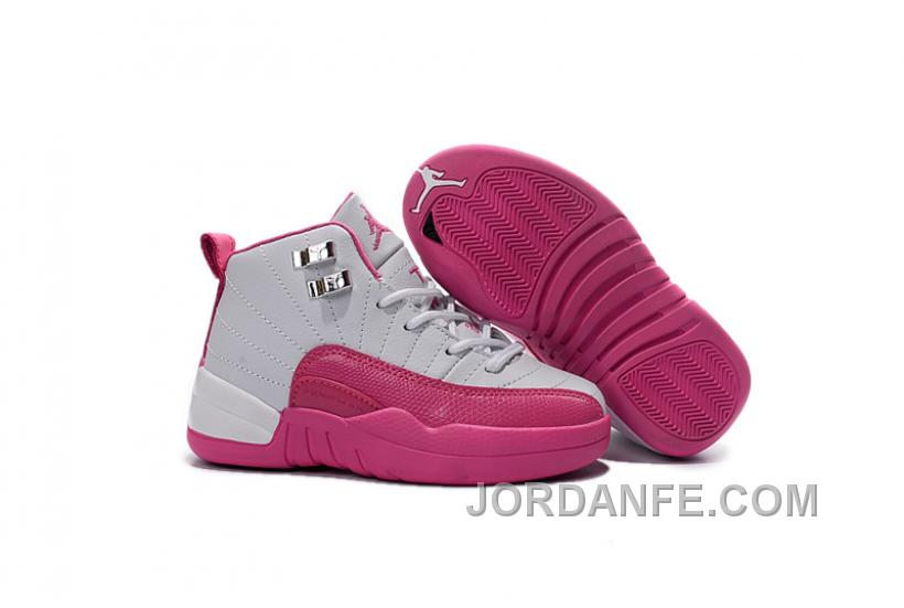 9ad85c983de8 Kids Jordan 12 Shoes Valentine s Day Dynamic Pink For Sale Free Shipping