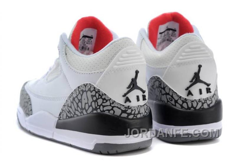 timeless design d74d2 291a4 Kids Jordan 3 White Cement-White Fire Red-Cement Grey-Black New