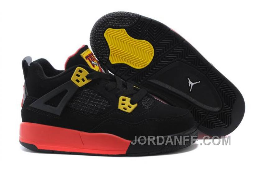 249fca3971be Kids Jordan 4 Basketball Shoes Black Yellow Red For Sale Super Deals ...