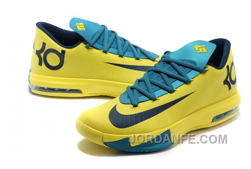 "official photos f7544 57ba1 Nike Kevin Durant KD 6 VI ""Seat Pleasant"" Yellow Teal For Sale Authentic"