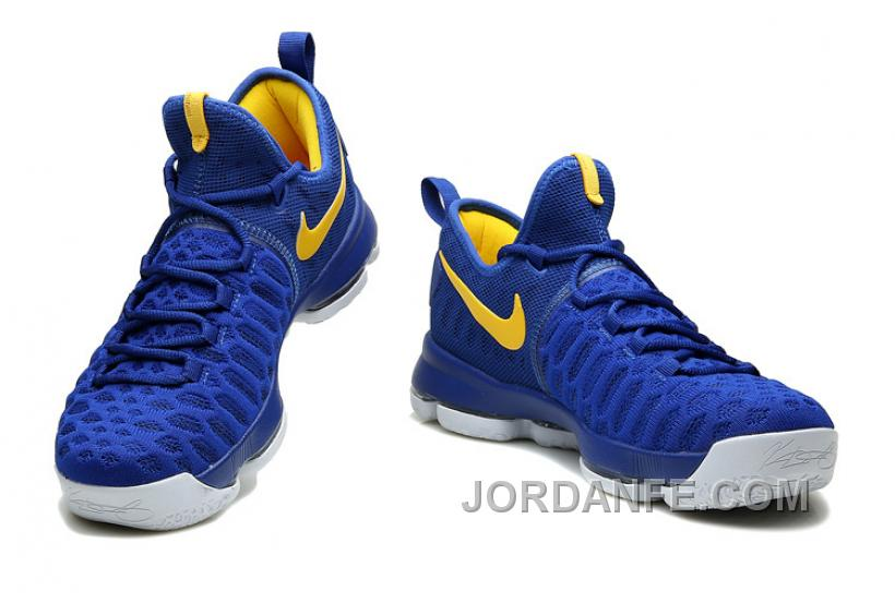 """25ac3a774817e8 Nike Kevin Durant KD 9 """"Golden State Warriors"""" Blue Yellow White 2016 For  Sale"""