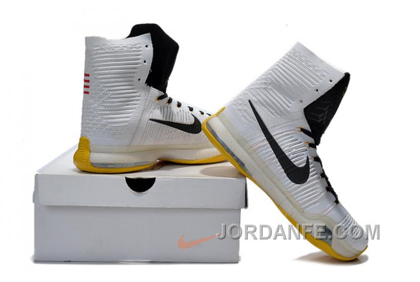 outlet store 197f4 fccbe Nike Mens Kobe X 10 Elite High Top PE White Black Yellow Online