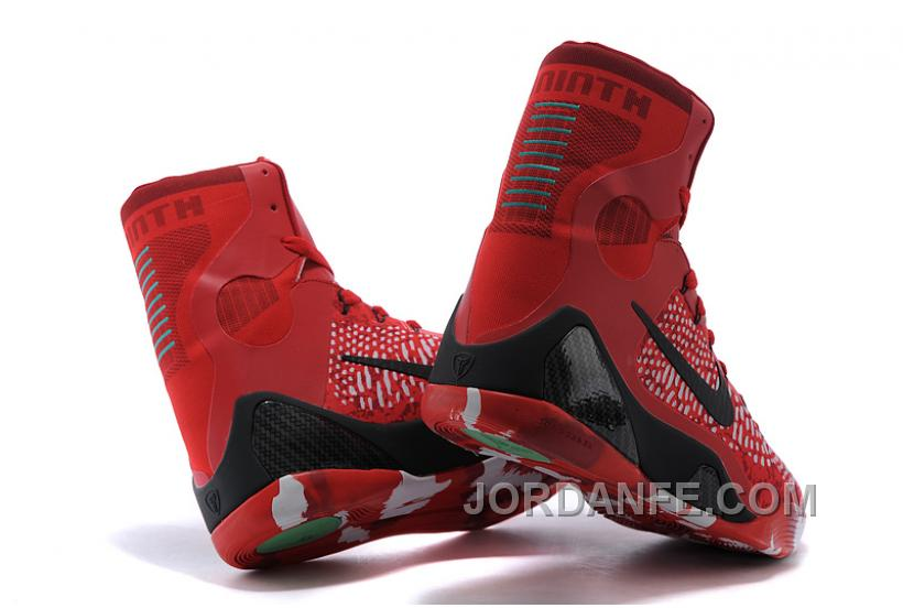 new product 11893 a16bc Nike Kobe 9 Elite Christmas High Top Bright Crimson Black White For Sale