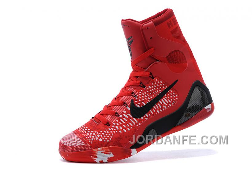 new product 9c1a3 d0fc3 Nike Kobe 9 Elite Christmas High Top Bright Crimson Black White For Sale