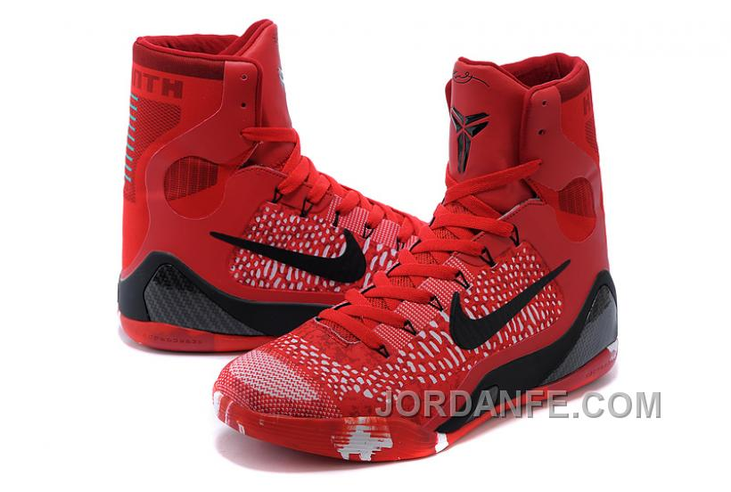 Kobe 9 Elite Christmas.Nike Kobe 9 Elite Christmas High Top Bright Crimson Black White For Sale