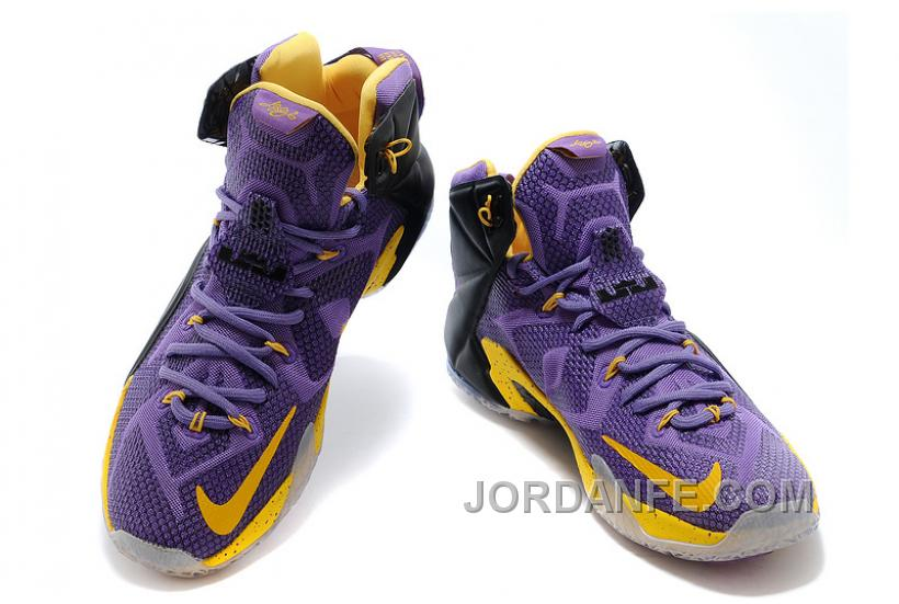 Nike LeBron 12 Purple Black-Yellow For Sale Online caf64be64
