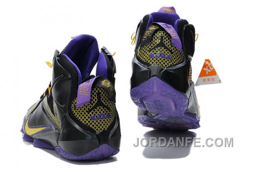 73b2e3c1ab1ff Nike LeBron 12 Custom Yellow Purple Black Super Deals