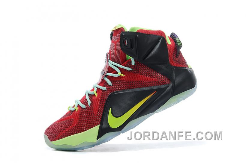 2ad4e1b4bacc Nike LeBron 12 Red Black Yellow Custom Free Shipping