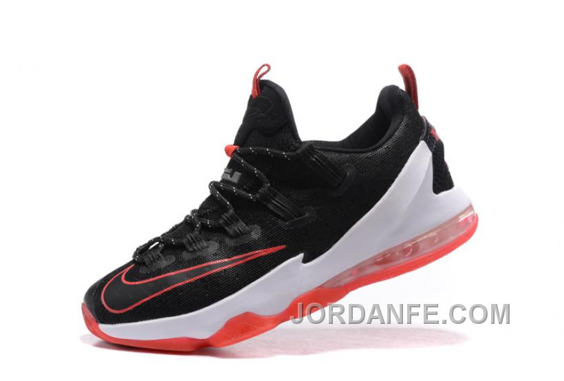 """fd6ee7f2f6dd 2016 Nike LeBron 13 Low """"Bred"""" Black University Red-White For Sale ..."""