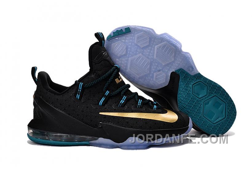 87aed9ff6d9f73 Nike Lebron 13 Low Black Gold For Sale