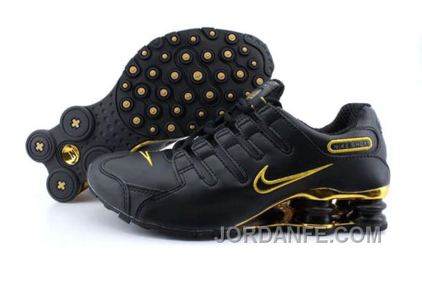 ad399ac38b2d61 Men s Nike Shox NZ Shoes Black Gold New Release